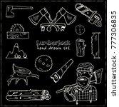 hand drawn doodle lumberjack... | Shutterstock .eps vector #777306835