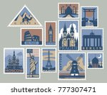 set of postage stamps with... | Shutterstock .eps vector #777307471