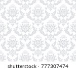 Stock vector wallpaper in the style of baroque a seamless vector background gray and white texture floral 777307474