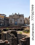 Small photo of CATANIA/ITALY - JULY 9, 2017: View of Roman Amphitheater of Catania and Church of San Biagio near Piazza Stesicoro. It was built around 300 BCE.