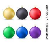 set of colorful christmas balls.... | Shutterstock .eps vector #777310885