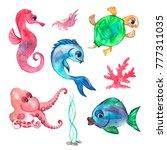 hand drawn watercolor set of... | Shutterstock . vector #777311035