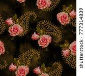 flower pattern roses pattern...   Shutterstock . vector #777314839