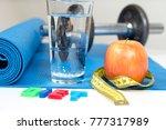 apple for diet  fitness ... | Shutterstock . vector #777317989