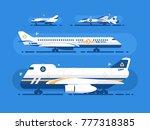 aircraft types set. passenger...   Shutterstock .eps vector #777318385