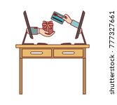 desk table with drawers front... | Shutterstock .eps vector #777327661