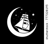 old fashion sailboat  moon and... | Shutterstock .eps vector #777328195