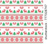 knitted christmas and new year... | Shutterstock .eps vector #777328747