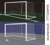 soccer goal with net. | Shutterstock .eps vector #777328954