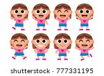 vector set of cute cartoon kids ... | Shutterstock .eps vector #777331195
