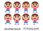 vector set of cute cartoon kids ... | Shutterstock .eps vector #777331195