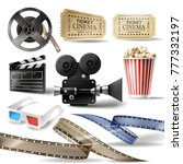 cinema set of 3d realistic... | Shutterstock .eps vector #777332197