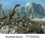 An afternoon prehistoric scene with three compsognathus dinosaurs on the run - 3D render. - stock photo