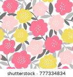 Stock vector trendy seamless repeat floral pattern vector print with simple modern flowers and leaves in pink 777334834