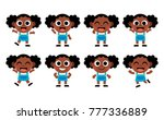 vector set of cute cartoon kids ... | Shutterstock .eps vector #777336889
