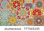 vector patchwork quilt pattern. ... | Shutterstock .eps vector #777345235