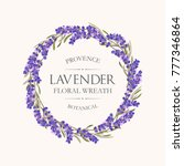 card with lavender wreath | Shutterstock .eps vector #777346864