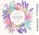 card with lavender wreath | Shutterstock .eps vector #777347035