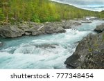 Fast Flow Mountain River In...