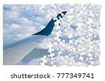Small photo of Airplane wing above the clouds in jigsaw puzzle shape - concept image which can mean: overcome fear of flying or solutions to air sickness or plan the trip by plane an so on