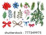 festive watercolor set of bows  ... | Shutterstock . vector #777349975