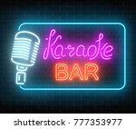 neon signboard of karaoke music ...   Shutterstock .eps vector #777353977