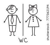 funny wc door plate symbols. wc ... | Shutterstock .eps vector #777362194