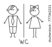 wc sign. toilet door plate icon.... | Shutterstock .eps vector #777362221