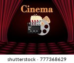 movie theater with row of red...   Shutterstock .eps vector #777368629