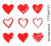 red vector hand drawn hearts.... | Shutterstock .eps vector #777369727