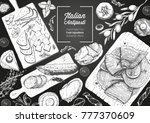 italian food top view. a set of ... | Shutterstock .eps vector #777370609