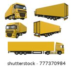 set large yellow truck with a... | Shutterstock . vector #777370984