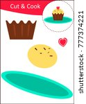 cut and paste worksheet  cupcake | Shutterstock .eps vector #777374221
