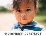 portrait of beautiful one year... | Shutterstock . vector #777376915
