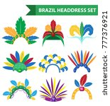 brazil feather headband... | Shutterstock .eps vector #777376921