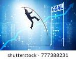 businessman pole vaulting...   Shutterstock . vector #777388231