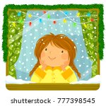 little girl looking at the snow ...   Shutterstock . vector #777398545
