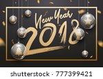 luxury 2018 new year light... | Shutterstock .eps vector #777399421