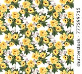 Stock photo watercolor yellow blooming roses and rose hips seamless pattern 777399715