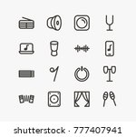 music icon line set with drums  ... | Shutterstock .eps vector #777407941