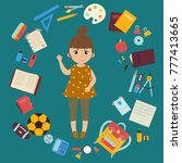 back to school. young girl is... | Shutterstock .eps vector #777413665