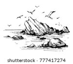 sea sketch with rocks and gulls.... | Shutterstock .eps vector #777417274
