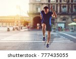 one caucasian man runner | Shutterstock . vector #777435055