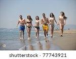 happy people group have fun ... | Shutterstock . vector #77743921