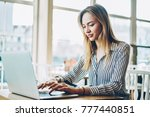 cheerful female copywriter... | Shutterstock . vector #777440851