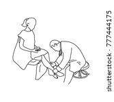 doctor examining calf muscle of ... | Shutterstock .eps vector #777444175