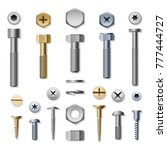 bolts and screws. vector screw... | Shutterstock .eps vector #777444727