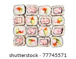 colorful rolls of sushi...