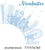 outline manchester england city ... | Shutterstock .eps vector #777476785