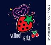 strawberry rhinestone t shirt...   Shutterstock .eps vector #777477379